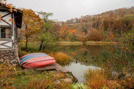 Maruike pond in beautiful autumn season at Nagano, Japan. Stok Fotoğraf