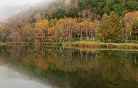 Kido-ike pond , reflection pond in autumn season at Nagano, Japan.
