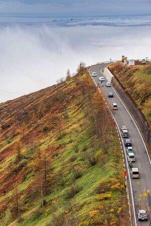 Beautiful autumn scenery on mountain road at Kusatsu Shiga Kogen highway, Gunma, Japan.
