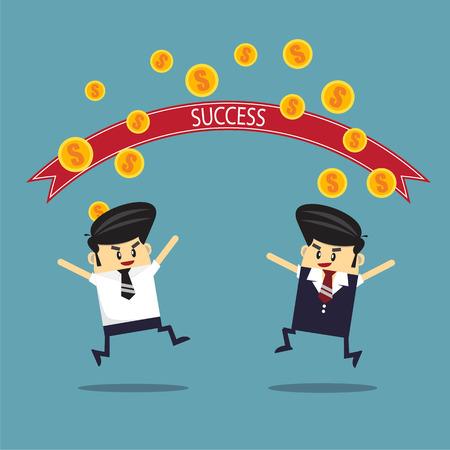 millionaire: Business man running to success line. success concept