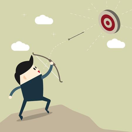 Business man above mountain shooting arrow to finance goal, business target concept, flat designs cartoon Vector illustration.