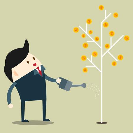 businessman and passive income flat design