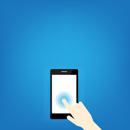 Hand pointing mobile phone with icons. Concept of communication in the network. This image contains transparency.creative technology design.