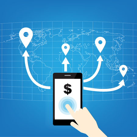Hand pointing mobile phone with icons. Concept of communication in the network. This image contains transparency on earth map, creative technology design.