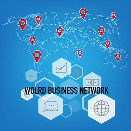 Global map Concept of communication of buisness in the network, Elements of this image furnished by NASA ,creative technology design. Illustration