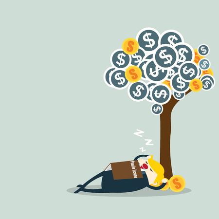 businessman and passive income concept vector illustration