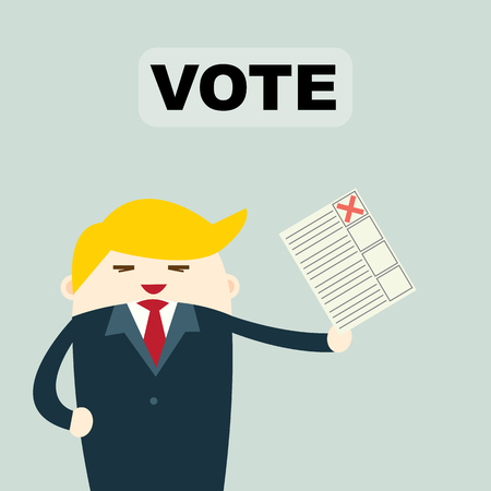 Voting concept in flat style -Vote paper, democracy concept