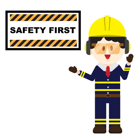 Construction ,Technician worker pointing safety first sign, safety first concept vector illustrator Çizim