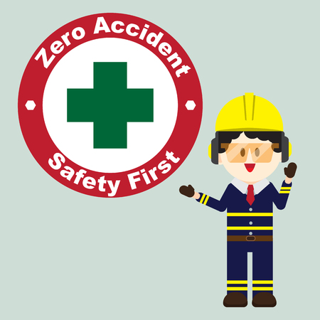 Construction ,Technician worker pointing zero accident sign, safety first, vector illustrator