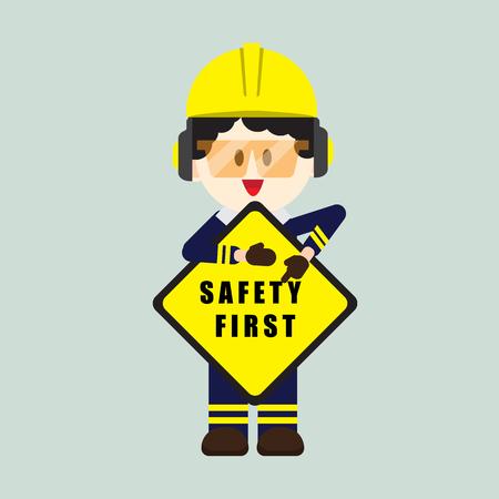 Construcción, trabajador técnico con primer cartel de seguridad, seguridad primero, salud y seguridad, ilustrador vectorial