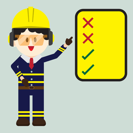 Construction ,Technician worker pointing safety sign, do and don't sign, vector illustrator Vectores