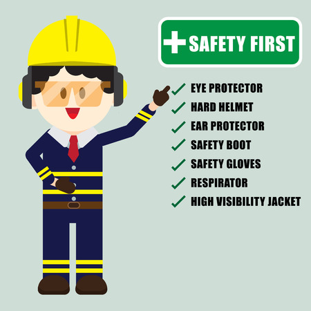 Construction ,Technician worker pointing safety first sign, safety first concept, vector illustrator Vectores
