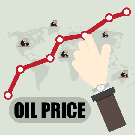 business male hand point Crude Oil Rising Prices Graph Иллюстрация