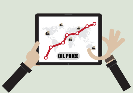 Business male hand point screen of tablet computer Crude Oil Rising Prices Graph.