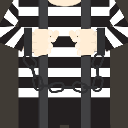 Hands in handcuffs isolated, icon. Man in jail prisoner. Vector illustration flat design.