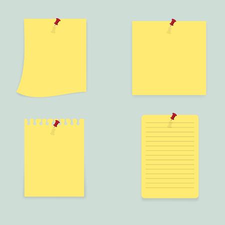 Sticky Notes - Set of yellow sticky notes isolated on white background. Vector illustration, Eps10. Ilustração