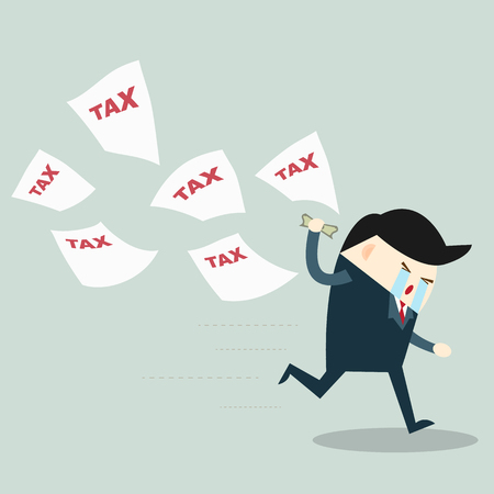 Businessman running away from tax Illustration