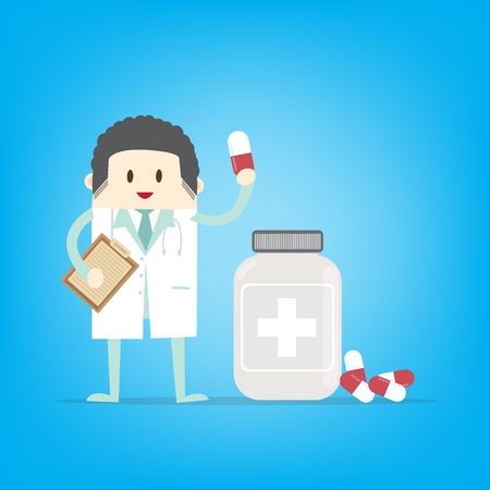 Male doctor holding container with cure in his hands. Tablets in hand. Capsules in their hands.