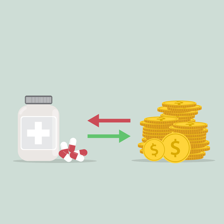 Buying medical pills in blister pack for money bills. Taking tablets, drugs, capsules, medicine. Flat style. Vector icon