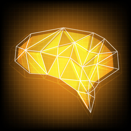 Abstract polygonal brain with glowing dots and lines, network connections Vector illustration Illustration
