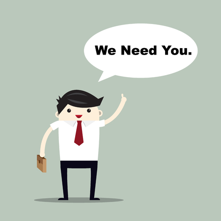 Business man with we need you, text box vector flat illustration. Illustration