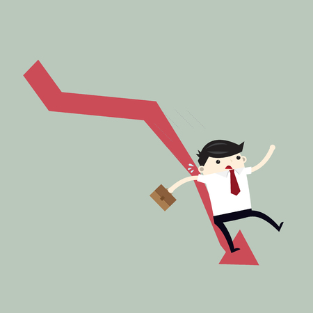 Businessman On Falling Down Chart. Business Concept Cartoon Illustration. 向量圖像