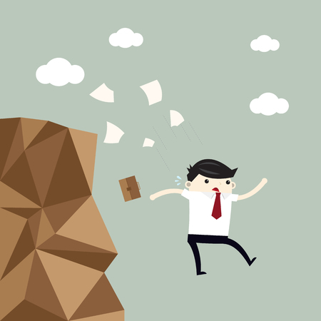 Businessman jump off the cliff. Ilustracja