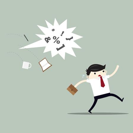 Business man run away from textbox. vector flat illustration Illustration