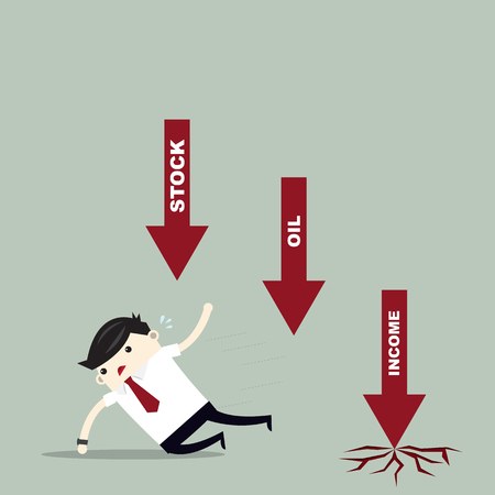 Business man run away from oil price and profit arrow.finance concept