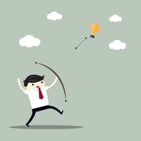 Business man above mountain shooting arrow to finance goal, business target concept , flat designs cartoon Illusztráció