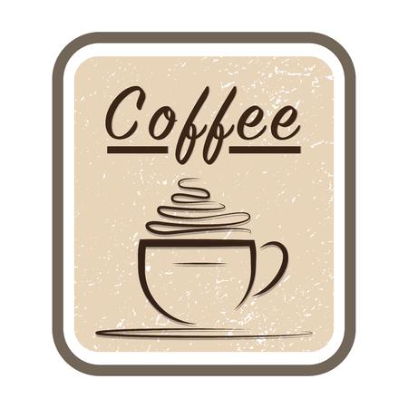 Coffee shop design template. Retro coffee emblem. Vector art. Vettoriali