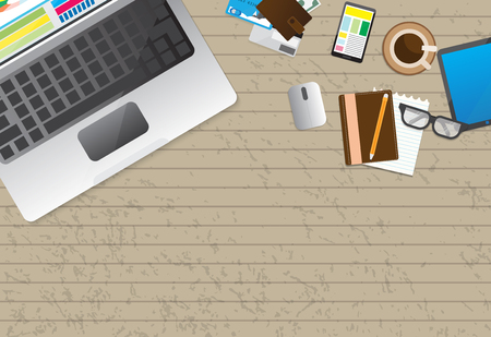 Flat design businessman concept. Top view of working place with laptop and documents on red background. Vector illustration for web banner.