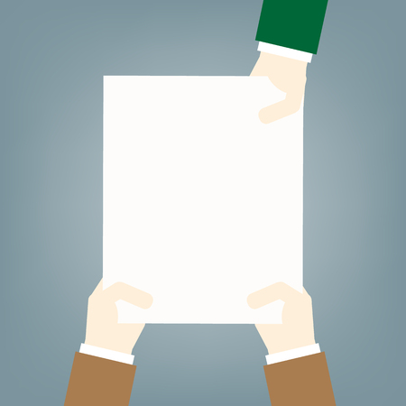hands holding white sheet. concept of notice. flat style modern design vector illustration on  blue background