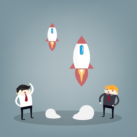 Startup Business. Businessman and a rocket. Flat design business concept illustration.