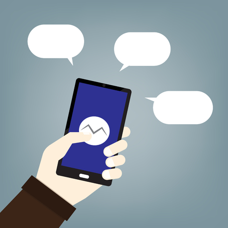 mobile phone text message balloons or chat box- vector icon Ilustracja