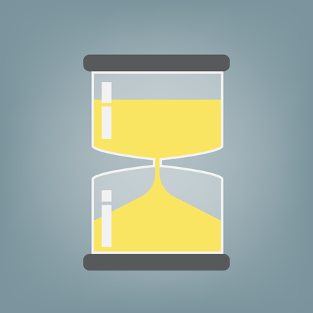 Transparent hourglass icon, sand glass, sand clock, flat design
