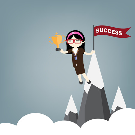 Business woman hold cup on top of mountain success concept Ilustracja