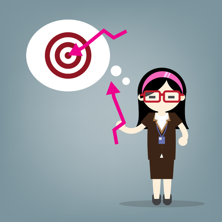 young business woman pointing at arrow in a target board. Concept of achievement of business goal. Vector flat design illustration.