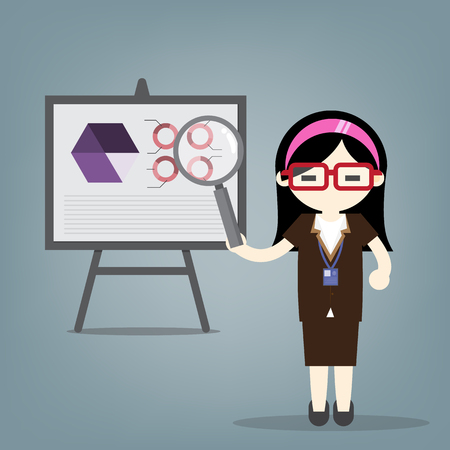 Business woman present marketing graph