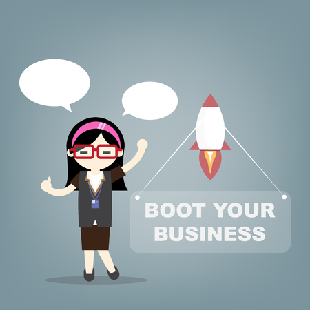 Business woman and rocket, start up concept