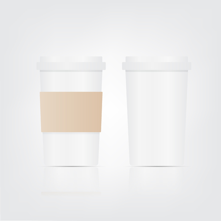 Paper coffee cup set on a white background.