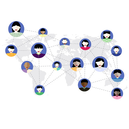 Social media network concept. Flat style design vector illustration with social media icons and world map.