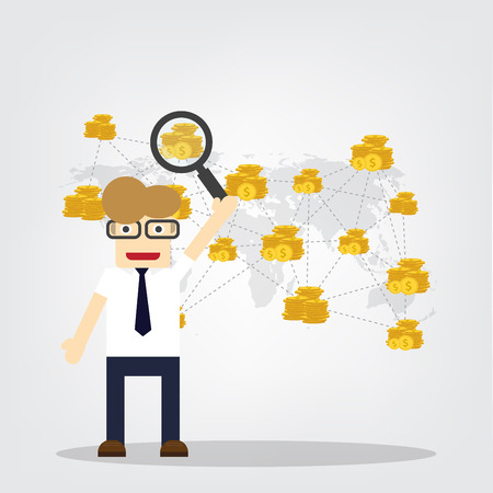 Business man and flat design vector illustration concepts finance infographics. Finance management in the world.
