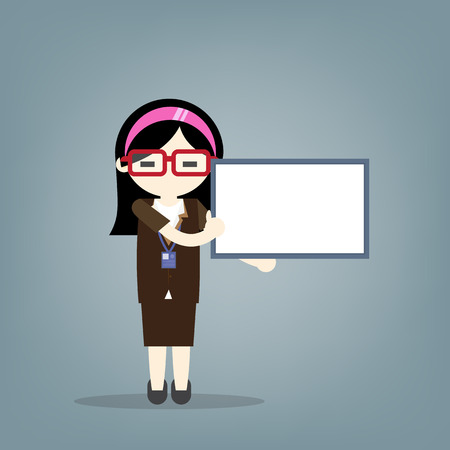 Business concept, Business women holding blank notes with blue background. Vector illustration.