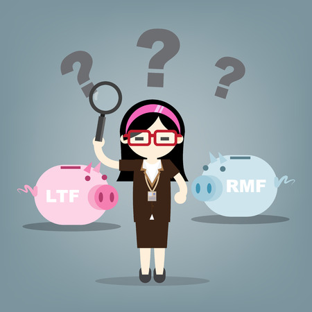Business woman find to investment, financial savingslong-term deposit investment . illustration concept.with word LTF , RMF. Ilustracja
