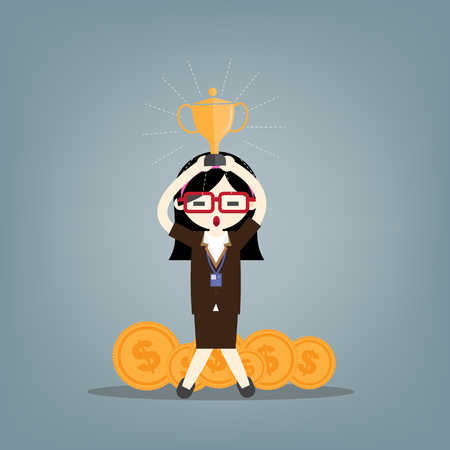 Businesswoman concept winner success. Business woman character vector. Excited smiling cartoon female raising up trophy.  向量圖像