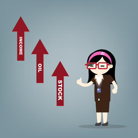 woman in a business suit showing a graph of successful finance or company growth Ilustracja