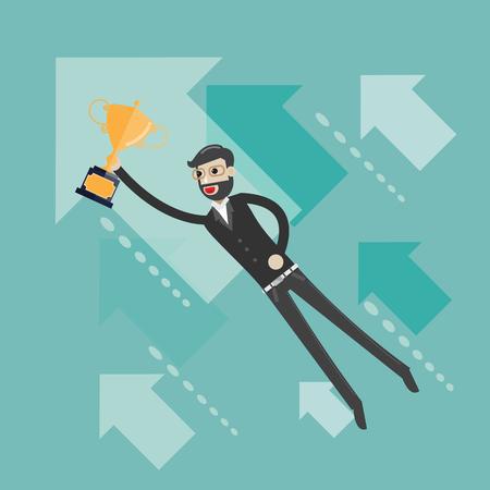 Upwards. Businessman flying between arrows. Concept business illustration Ilustracja