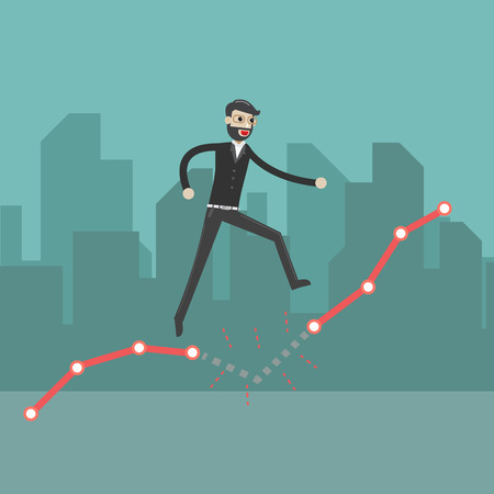 Young businessman walking up on growing graph representing success concept