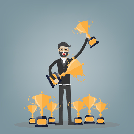 Championship and leadership isolated illustration. First place winner concept. Vector. Champion trophy flat icon. Golden winner cup.